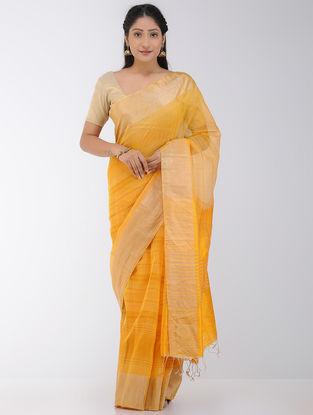 Yellow Linen-Silk Saree with Zari Border