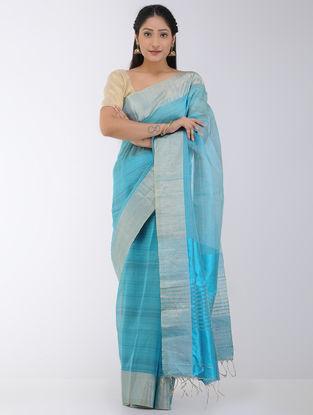 Blue Linen-Silk Saree with Zari Border