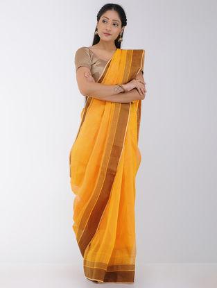 Yellow Linen-Silk Saree with Woven Border