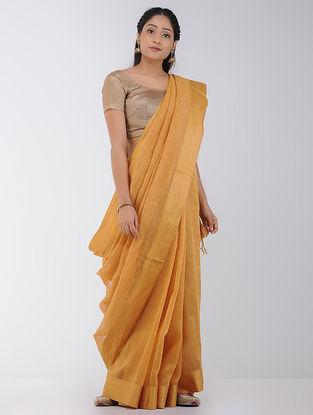 Beige Linen-Silk Saree with Woven Border