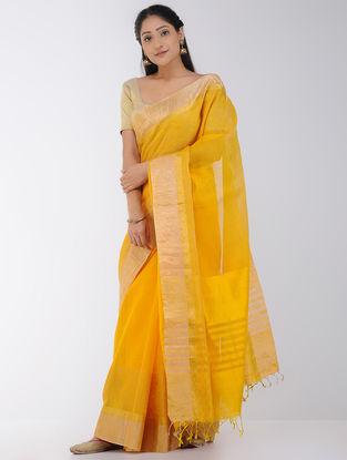 Mustard Linen-Silk Saree with Zari Border