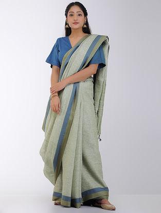 Green-Blue Linen Saree