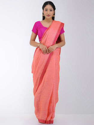 Pink-Orange Linen Saree with Woven Border