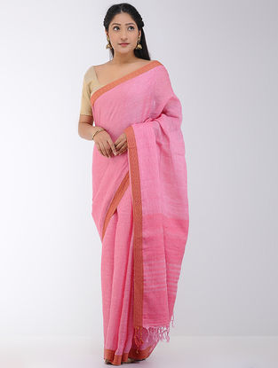 Pink Linen Saree with Woven Border