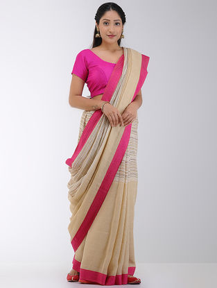 Beige-Pink Linen Saree with Woven Border