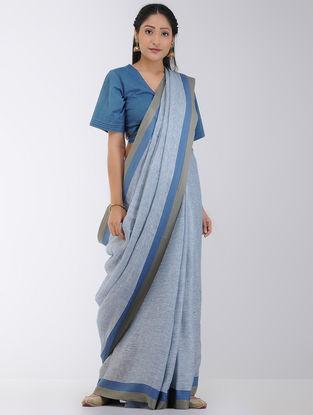 Blue-Grey Linen Saree