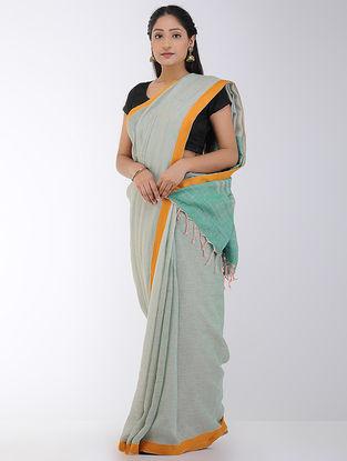 Grey-Green Linen Saree