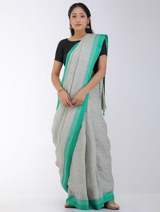 Grey-Green Linen Saree with Woven Border