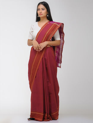Red-Pink Chettinad Cotton Saree with Woven Border