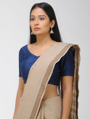 Beige Chettinad Cotton Saree with Woven Border