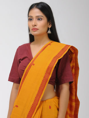 Mustard-Red Chettinad Cotton Saree with Woven Border