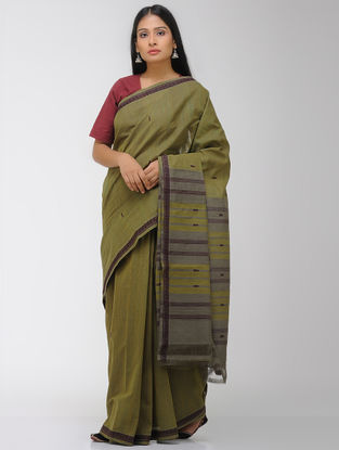 Green-Grey Chettinad Cotton Saree with Woven Border