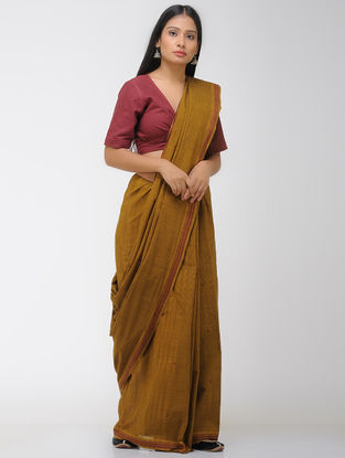 Brown-Mustard Chettinad Cotton Saree with Woven Border