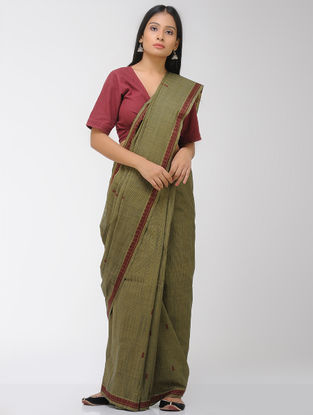 Green-Maroon Chettinad Cotton Saree with Woven Border