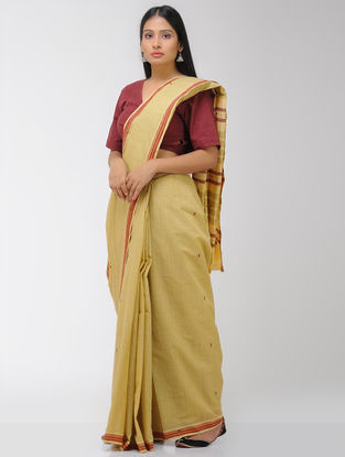 Yellow-Red Chettinad Cotton Saree with Woven Border