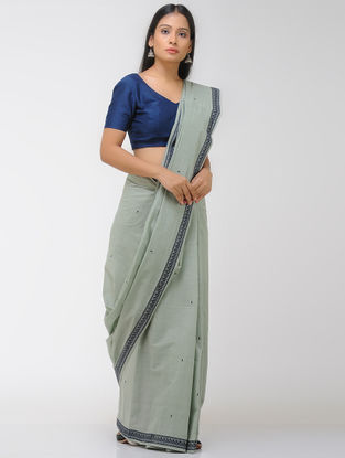 Grey Chettinad Cotton Saree with Woven Border
