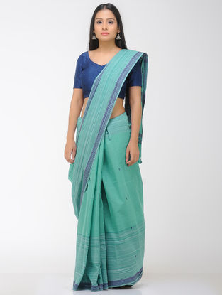 Green-Blue Chettinad Cotton Saree with Woven Border