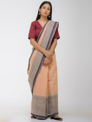 Peach-Grey Chettinad Cotton Saree with Woven Border