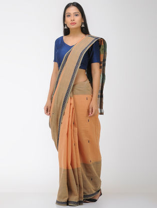 Brown-Orange Chettinad Cotton Saree with Woven Border
