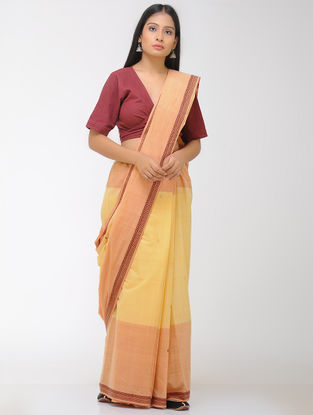 Yellow-Peach Chettinad Cotton Saree with Woven Border