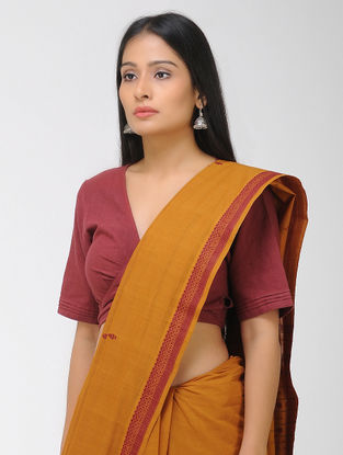 Orange-Red Chettinad Cotton Saree with Woven Border
