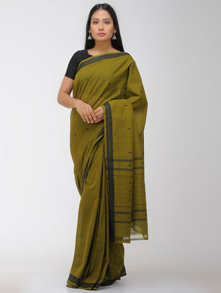 Green-Black Chettinad Cotton Saree with Woven Border