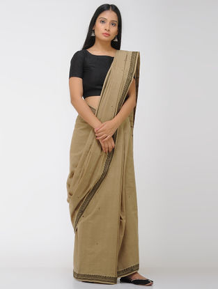 Brown-Black Chettinad Cotton Saree with Woven Border