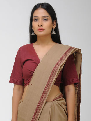 Brown-Maroon Chettinad Cotton Saree with Woven Border