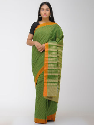 Green-Orange Chettinad Cotton Saree