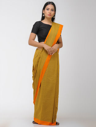 Ochre-Green Chettinad Cotton Saree