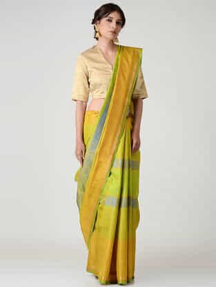 Green-Mustard Kanjivaram Silk Saree