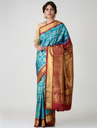 Blue-Red Kanjivaram Silk Saree