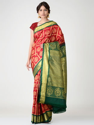 Red-Green Kanjivaram Silk Saree