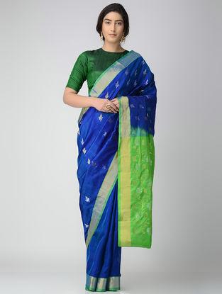 Blue-Green Uppada Silk Saree with Zari
