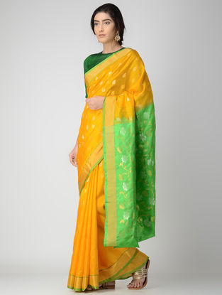 Yellow-Green Uppada Silk Saree with Zari