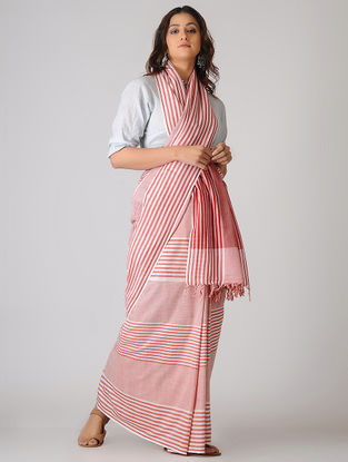 Pink-Ivory Striped Organic Cotton Saree