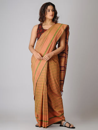 Pink-Green Striped Organic Cotton Saree