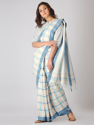 Ivory-Blue Checkered Organic Cotton Saree