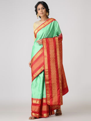 Green-Red Kanjivaram Silk Saree