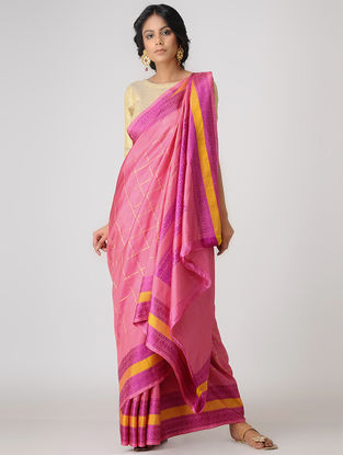 Pink-Yellow Kanjivaram Silk Saree