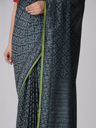 Black-Grey Cotton Cut-work Jamdani Saree