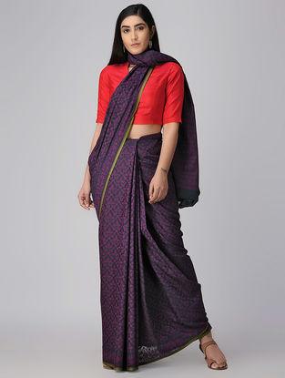 Black-Purple Cotton Cut-work Jamdani Saree