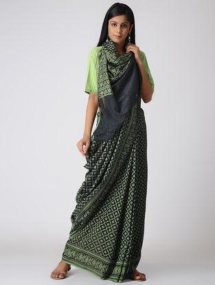 Blue-Green Cotton Cut-work Jamdani Saree