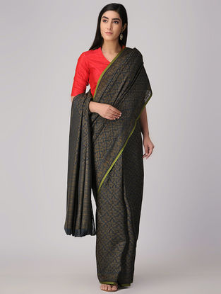 Black-Olive Cotton Cut-work Jamdani Saree
