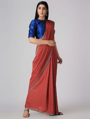 Red-Purple Cotton Cut-work Jamdani Saree