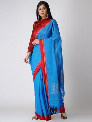 Blue-Red Khadi Cotton Saree with Zari and Silk border