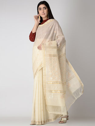 Ivory Silk Cotton Jamdani Saree with Zari