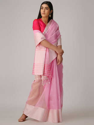 Pink Linen Silk Saree with Woven Border