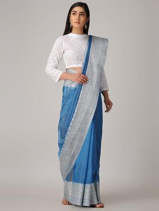 Blue Linen Silk Saree with Woven Border