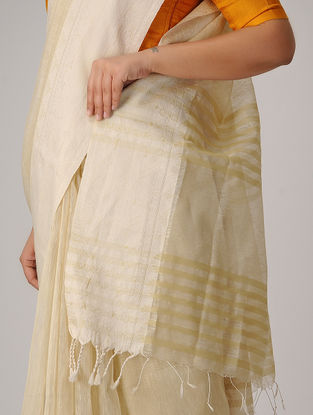 Ivory Linen Silk Saree with Woven Border